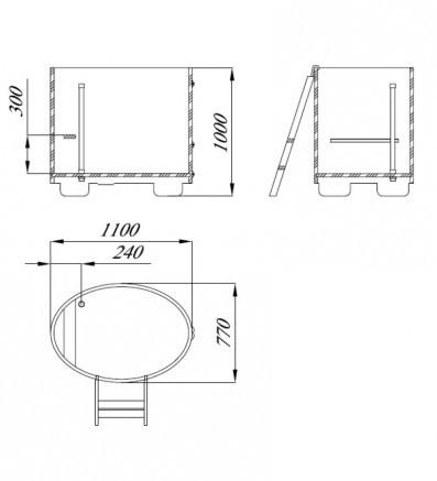 Купель для сауны и бани Blumenberg 110 x 77